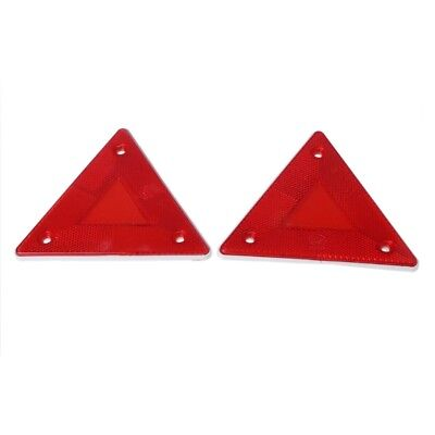 2 x Triangle Warning Reflector Alerts Safety Plate Rear Light Trailer Fire Car