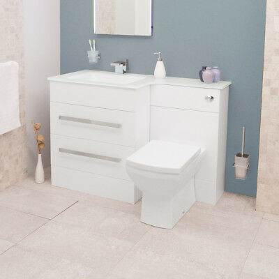 Combination Unit Toilet Sink Basin Bathroom Vanity Cabinet White Glass  SoftClose