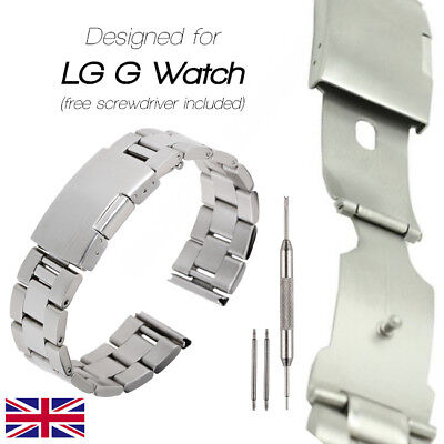 22mm Classic Buckle Stainless Steel Metal Watch Strap Band for LG G Watch