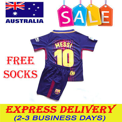 New Season 2018 Kids Soccer Jersey Barcelona Home #10 Messi Kit Top+Short Sets