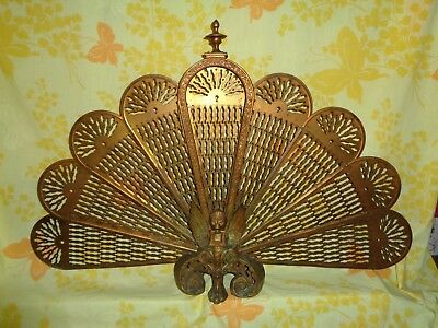 Antique Pegalion Fireplace Screen Fan Phoenix Peacock Fan Screen Fireplace Scree