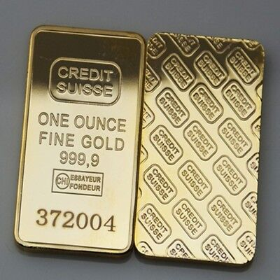 Lingotto Credit Suisse  24Kt Bullion Bar One Ounce Plated In Fine Gold.