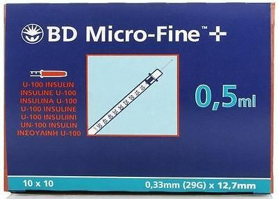BD Micro-Fine U-100 0.5ml Insulin Syringe 0.33mm (29G) x 12.7mm BOX OF 100