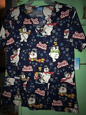 3XL Frosty The Snowman Holiday Christmas Scrub Top Women's New with Tags So Cute