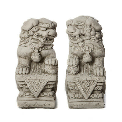 PAIR of FOO DOGS Stone Garden Ornament Chinese Guardian Statue Koi  ⧫onefold-uk