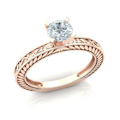 0.33ct Round Diamond 14K Rose Gold Women's Forever One Solitaire Engagement Ring