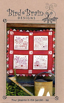 "Bird Brain Designs Embroidery Quilting Pattern 162 ""Four Seasons in the Garden"""