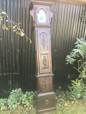 An Antique 19Th Century French Oak Long Cased Clock