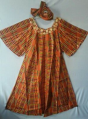 Women's Dashiki Clothing African Traditional Kente dress Ethnic Set Free Size