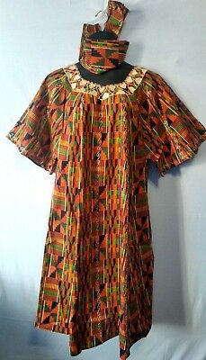 Women's Dashiki Clothing African Traditional Kente dress Ethnic Set One Size