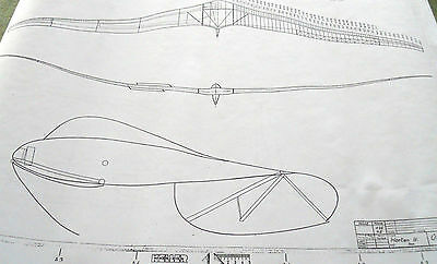 21 Pages of ORIGINAL Horten/Horton 4 Flying Wing PLANS ONLY of FULL SCALE GLIDER