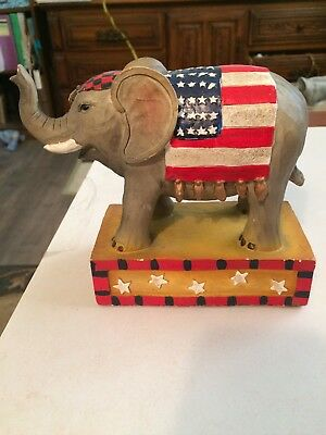 Elephant Hand Carved and Painted Wood Seymour Mann