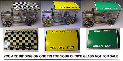 Tin Tops For Your Glass Candy Container Taxi