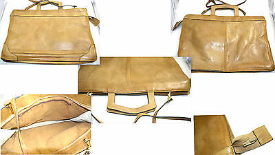 Vintage Briefcase Beige Nude Leather Shoulder Bag Laptop Working Bag