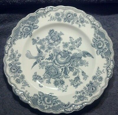 Mint Crown Ducal Bristol Birds Of Paradise Dove Gray Grey 9-3/4'' Dinner Plate