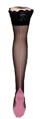 Black Contrast Pink Back Seam Cuban Heel Lace Top Hold Ups Stockings Seamed New