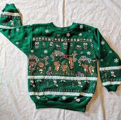 VINTAGE Children's 80s Ugly cute Christmas bears holiday prop winter sweat shirt