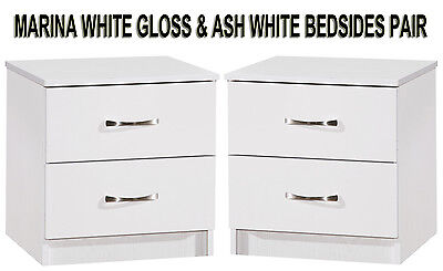 White Gloss & Ash White Set of 2 Bedside Cabinets Side Lamp Tables Modern Units