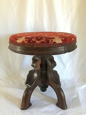 Antique Spinning Piano Stool Solid Wood w/ Adjustable Heigh.