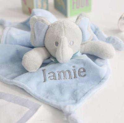 Personalised Baby Blue Elephant Comforter Blanket. My First Toys. Baby Shower.