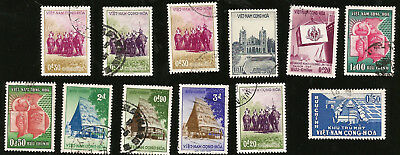 SOUTH VIETNAM OLD STAMPS FROM 1950s ELEPHANTS, NATIVE HUTS, PROGRESS, ETC.