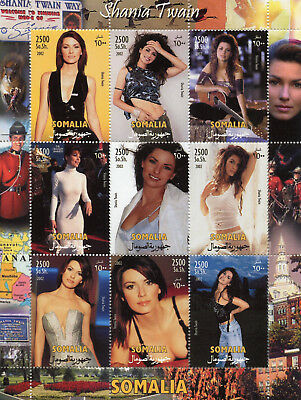 Somalia 2002 MNH Shania Twain 9v M/S Pop Music Celebrities Stamps