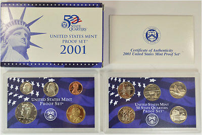 2001-S 10 Coin Proof Set Original Government Packaging W/COA Clean