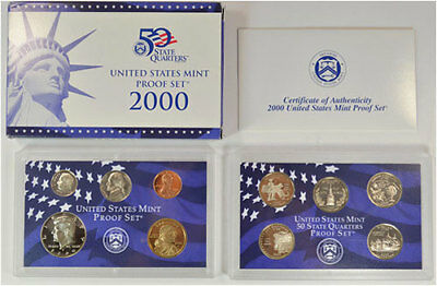 2000-S 10 Coin Proof Set Original Government Packaging W/COA Clean