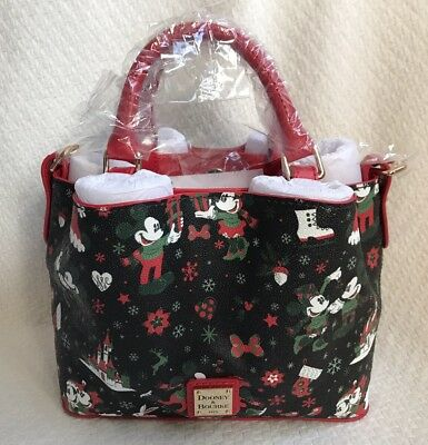 Disney Dooney & and Bourke Christmas Woodland Winter Holiday Tote Purse Bag A