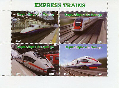 Congo 2013 MNH Express High-Speed Trains 4v M/S I Rail Railways Stamps