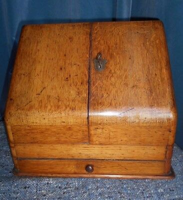 Antique Edwardian Oak Stationary Box with Key