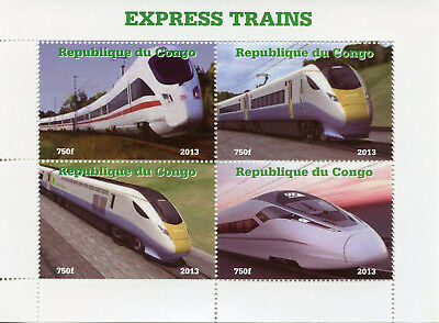 Congo 2013 MNH Express High-Speed Trains 4v M/S II Rail Railways Stamps
