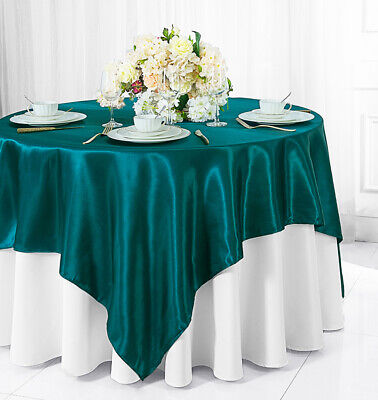 "Wedding Linens Inc. 54"" Satin Square Table Overlays Toppers -56 Colors Available"