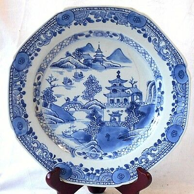 C18Th Chinese Blue And White Plate With Temples, Bridge Boats Within A Border