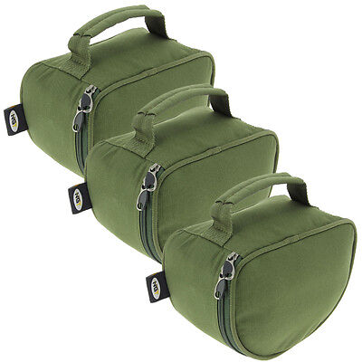 3 x NGT Deluxe Large Carp Coarse Padded Green Fishing Tackle Reel Cases Set