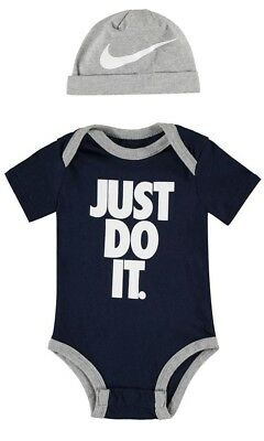 Nike Just Do It Two Piece Set Baby Boys Playsuit Bodysuit Vest - Blue and Grey