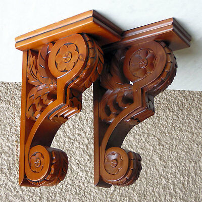 "HAND CARVED WOODEN CORBEL WALL BRACKETS 9-3/4""T x 3-1/4""W x 6-1/4""D"