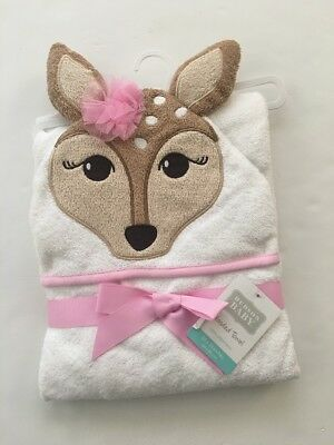 Hudson Baby Girl Terry Cotton Hooded Towel White Pink Deer Doe Layette Gift