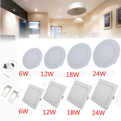 LED Recessed Panel Ceiling Light Down Light slim Bright Roung&Square Downlight