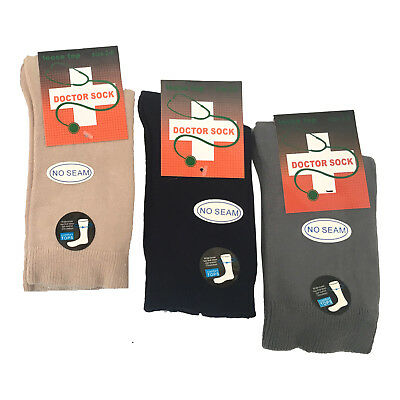 Mens Pure Cotton Loose Top Socks Black Grey Beige