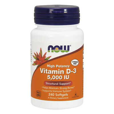 NOW FOODS Vitamin D-3, 5000 IU - 240 softgels - Vitamina D3