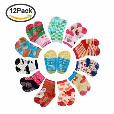 CIEHER 12 Pairs Non-Skid Ankle Cotton Socks with Grip for 12-36 Months Baby I...