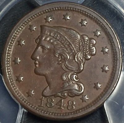 1848 1C Braided Hair Large Cent (PCGS AU53) GC16943PK