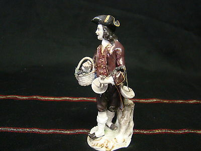 Awesome Antique German Meissen Porcelain Figure with Basket of Grapes