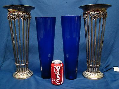 Beautiful Pair of Antique Sheffield Plate Cobalt Blue Glass Vases 16 Inches Tall