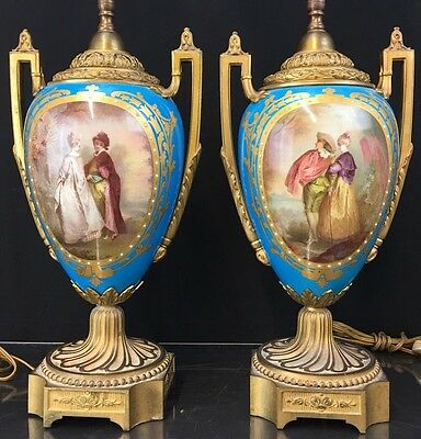 Fine Pair Of Antique French Porcelain Sevres Vases With Beautiful Portrait