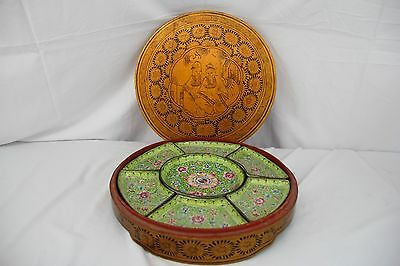 Gorgeous Antique 1900s Chinese Enameled Service Dish with Original Wood Box