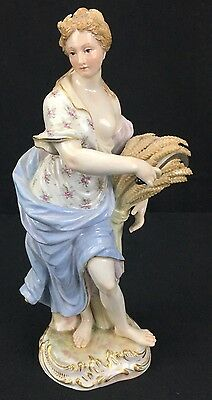 Fantastic Antique German Porcelain Meissen Statue of Young Beautiful Lady