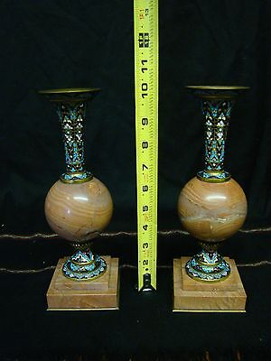 Lovely Pair of French Marble Vases with Enamel & Bronze Fine Workmanship