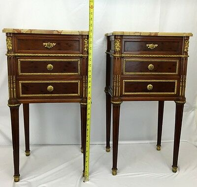 Gorgeous Pair of Antique French 19th Century Gilt Gold Bronze & Wood Nightstands